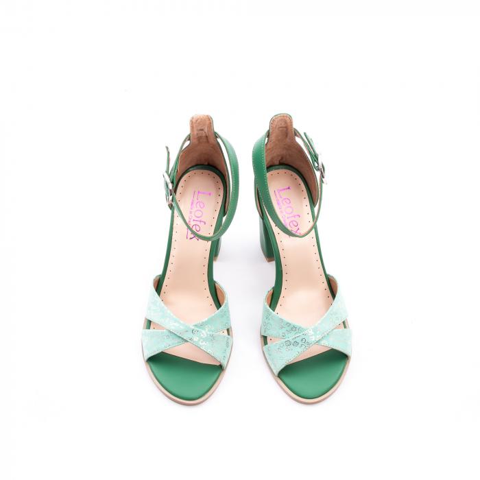 Sandale dama elegante piele naturala, Leofex 148, verde 5
