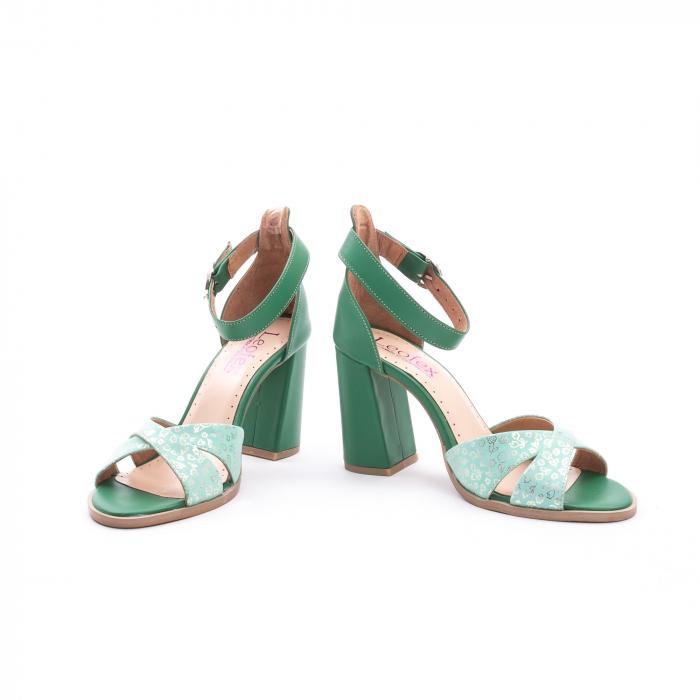 Sandale dama elegante piele naturala, Leofex 148, verde 4