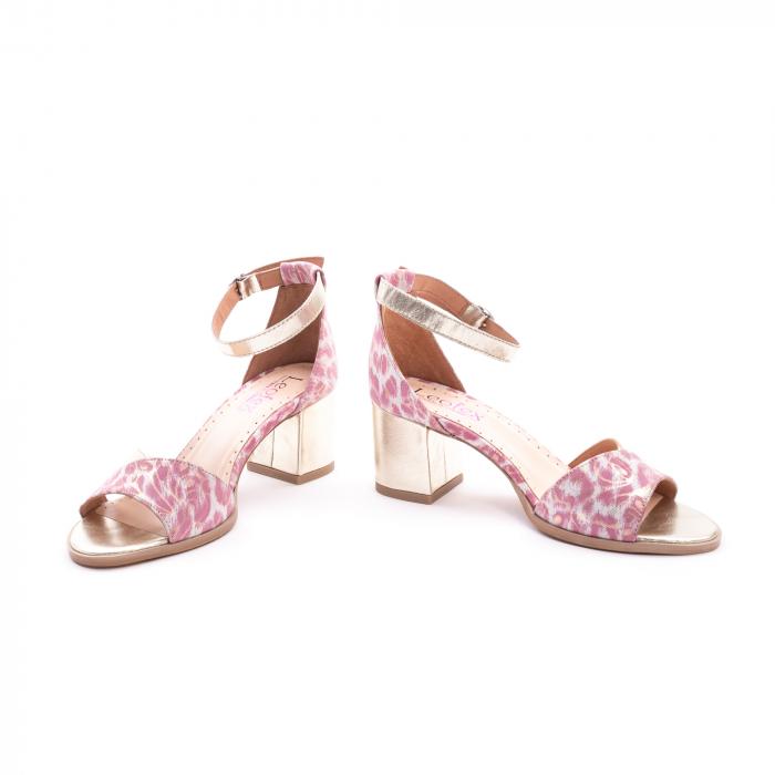 Sandale dama piele naturala Leofex 228, roz cu auriu 4
