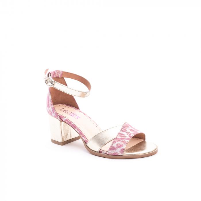 Sandale dama piele naturala Leofex 228, roz cu auriu 0