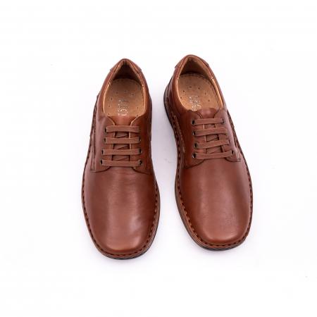 Pantofi barbati casual, piele naturala, Leofex 918 coniac
