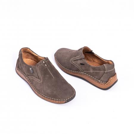 Pantofi barbati casual, piele naturala,Leofex 919, taupe nubuc3