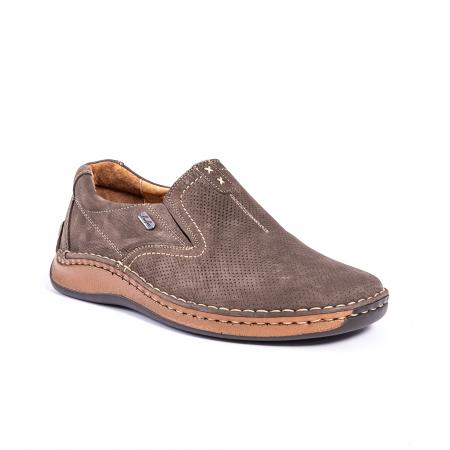 Pantofi barbati casual, piele naturala,Leofex 919, taupe nubuc0