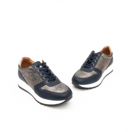 Pantof casual cu siret LFX 101 blue argintiu1