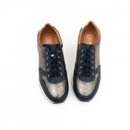 Pantof casual cu siret LFX 101 blue argintiu