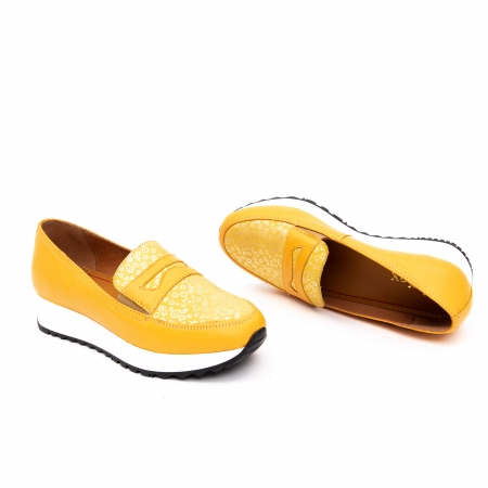 Pantof casual dama LFX 100 galben serigrafiat1