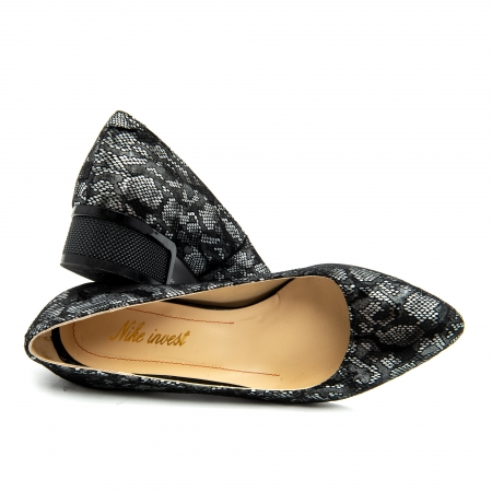 Pantof dama 1010 negru-gri suede1