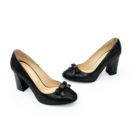 Pantof elegant dama -cod 1110 negru  glitter5