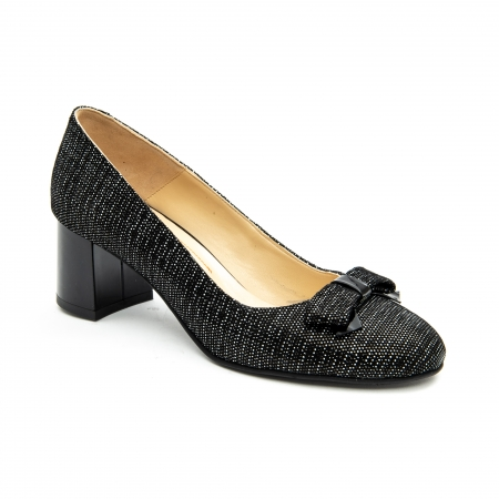 Pantof elegant dama ,cod 1111 negru cu picatele0