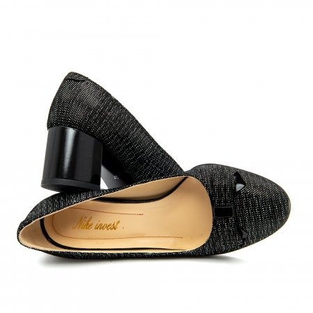 Pantof elegant dama ,cod 1111 negru cu picatele2