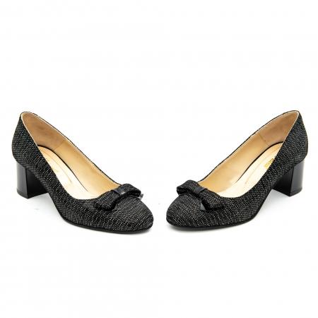 Pantof elegant dama ,cod 1111 negru cu picatele4