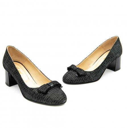 Pantof elegant dama ,cod 1111 negru cu picatele1
