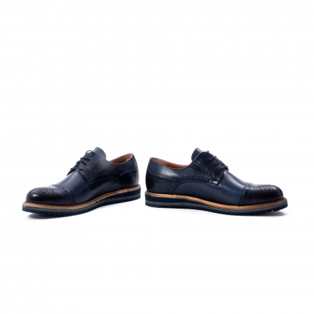 Pantofi barbati casual, piele naturala, Leofex 537, bleumarin4