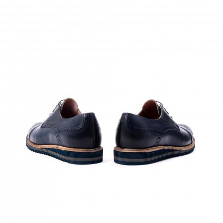 Pantofi barbati casual, piele naturala, Leofex 537, bleumarin6