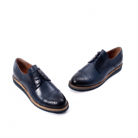 Pantofi barbati casual, piele naturala, Leofex 537, bleumarin1