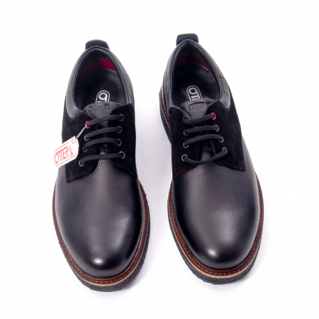 Pantofi barbati casual piele naturala, Otter 020, negru5
