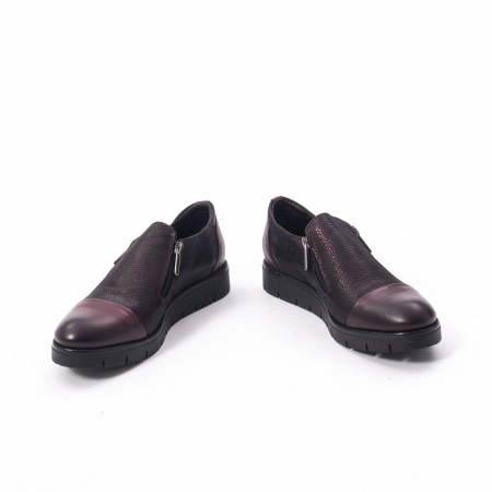 Pantofi casual dama din piele naturala, Catali 182634, bordo1