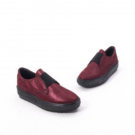 Pantofi casual dama piele naturala Catali 192858, bordo3