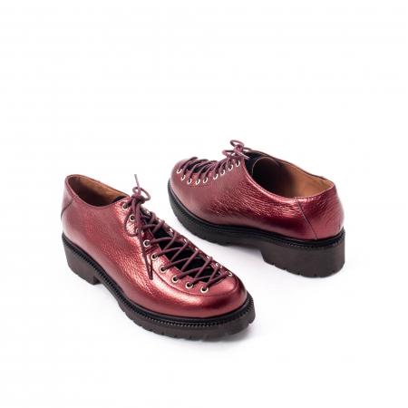 Pantofi casual dama, Leofex piele naturala 561 visiniu metalic