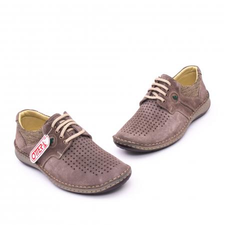 Pantofi barbati de vara, piele naturala nabuc, Otter 9560,  gri1