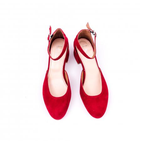 Pantofi decupati dama LFX 221 rosu velur