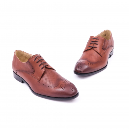 Pantofi barbati eleganti piele naturala Nevalis 116, coniac1