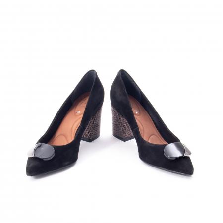 Pantofi eleganti dama, piele naturala, Epica 9628, negru nubuc