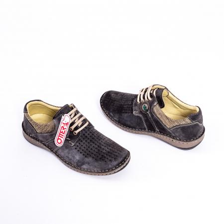 Pantofi vara barbati piele naturala nabuc Otter 9560 42-I gri inchis2