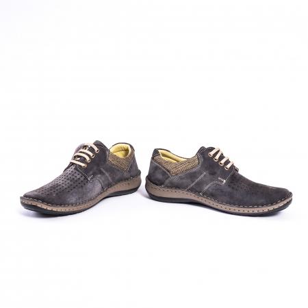 Pantofi vara barbati piele naturala nabuc Otter 9560 42-I gri inchis4