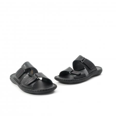 Papuci de  barbat din piele naturala ,culoare negru LEOFEX  5311