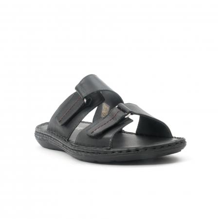 Papuci de  barbat din piele naturala ,culoare negru LEOFEX  5310