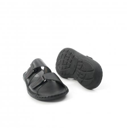 Papuci de  barbat din piele naturala ,culoare negru LEOFEX  5313