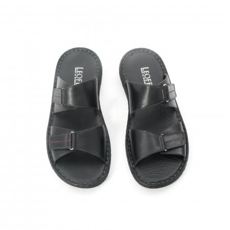 Papuci de  barbat din piele naturala ,culoare negru LEOFEX  5315