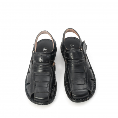 Sandale  barbat  din piele naturala ,culoare negru ,Leofex 929 .5