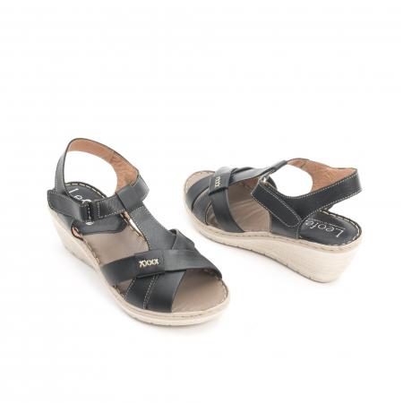 Sandale dama casual din piele naturala ,Leofex 214 negru3