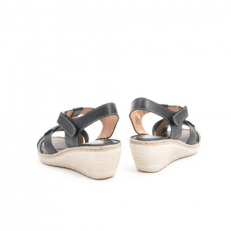 Sandale dama casual din piele naturala ,Leofex 214 negru6