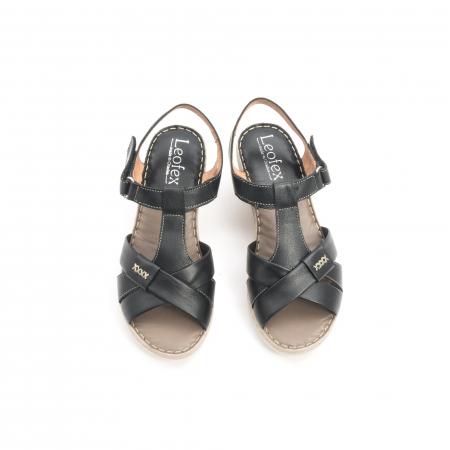 Sandale dama casual din piele naturala ,Leofex 214 negru5