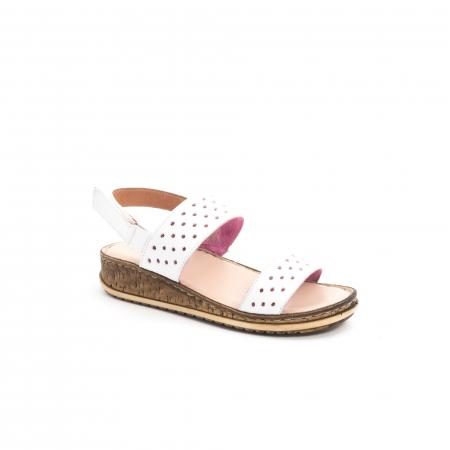 Sandale dama casual Leofex 212, piele naturala, alb