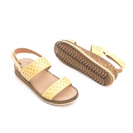 Sandale dama casual , piele naturala, Leofex 212 galben2