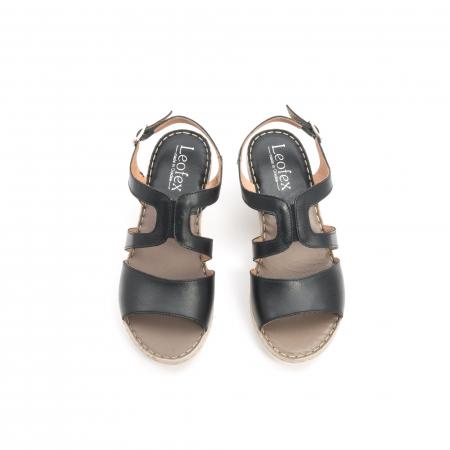Sandale dama  casual  din piele naturala Leofex 232 negru5