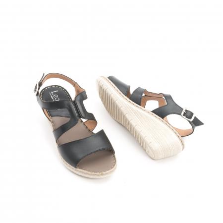 Sandale dama  casual  din piele naturala Leofex 232 negru3