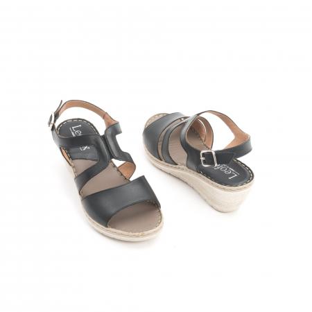 Sandale dama  casual  din piele naturala Leofex 232 negru2