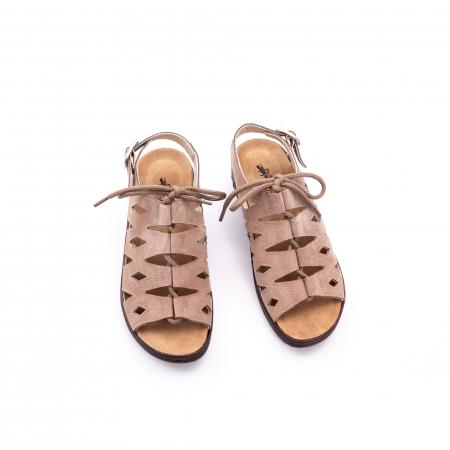 Sandale dama casual piele naturala nabuc Pass 450 03-2, bej5