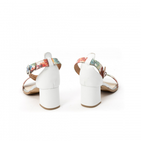 Sandale dama elegante piele naturala Leofex 128, alb-floral6