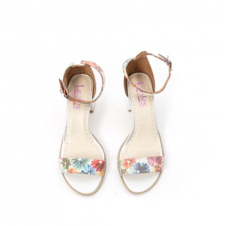 Sandale dama elegante piele naturala Leofex 128, alb-floral5