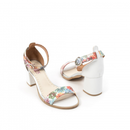Sandale dama elegante piele naturala Leofex 128, alb-floral2