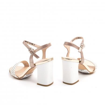 Sandale dama elegante piele naturala, Karisma JZ81689-M17-C56, alb-auriu