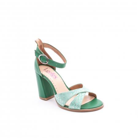 Sandale dama elegante piele naturala, Leofex 148, verde0