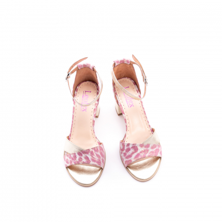 Sandale dama piele naturala Leofex 228, roz cu auriu5