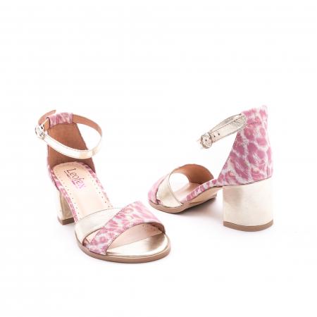 Sandale dama piele naturala Leofex 228, roz cu auriu3